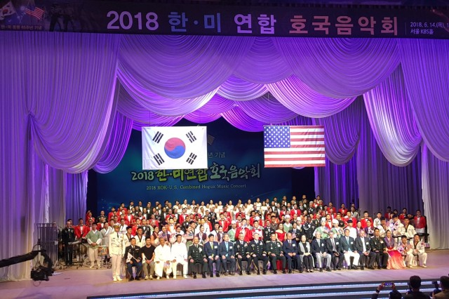 Group of VIPs and participants of the 2018 Republic of Korea - U.S. combined Hoguk Music Concert take a group photo after the concert at Korean Broadcasting System (KBS), Seoul, South Korea, June 14.