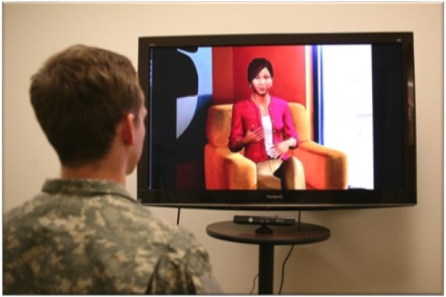 A Soldier talks to Ellie, a virtual human agent who is a part of SimSensei, a clinical decision support tool that can read expressions, speech patterns and body movements in order to detect signs of psychological distress. The developers of SimSensei, the University of Southern California Institute for Creative Technologies, or ICT, are now collaborating with the U.S. Army Research Institute of Environmental Medicine, or USARIEM, along with other Department of Defense partners, in order to enhance Ellie's capabilities so she can detect changes in cognitive status during training and battlefield scenarios.