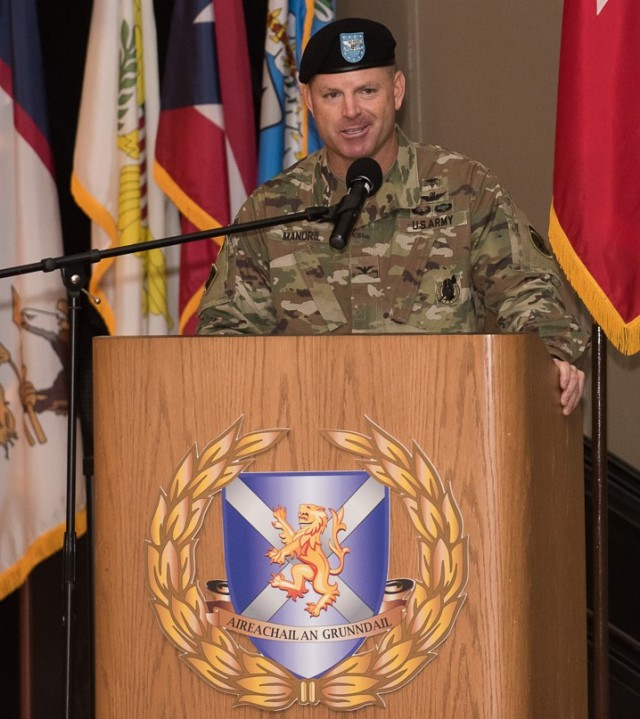 Col. Edward Mandril addresses the audience during the Medical Recruiting Brigade Change of Command