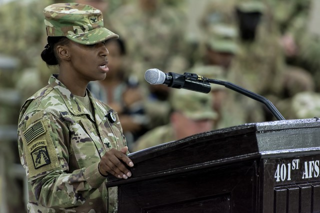 Col. Carmelia Scott-Skillern, commander, 401st Army Field Support Brigade, speaks during a change of command ceremony for the AFSBn-Kuwait at Camp Arifjan, Kuwait, June 15. (U.S. Army Photo by Justin Graff, 401st AFSB Public Affairs)