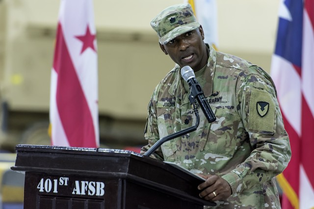 Lt. Col. Mike Jordan, outgoing commander, Army Field Support Battalion-Kuwait, speaks during a change of command ceremony for the AFSBn-Kuwait at Camp Arifjan, Kuwait, June 15. (U.S. Army Photo by Justin Graff, 401st AFSB Public Affairs)