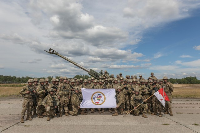 Bulldog Battery, Field Artillery Squadron, 2d Cavalry Regiment participates in the Saber Strike 18 closing ceremony at Rukla Airfield, Lithuania, June 15, 2018. 18,000 participants from 19 allied and partner nations participated in the eighth iteration of Saber Strike, June 3 - 15. The next iteration is scheduled for 2020.