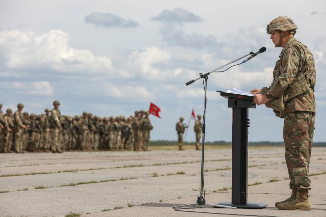 Brig. Gen. Richard R. Coffman, deputy commanding general, 1st Infantry Division, provides the closing remarks for Saber Strike 18 during a ceremony at Rukla Airfield, Lithuania, June 15, 2018. 18,000 participants from 19 allied and partner nations participated in the eighth iteration of Saber Strike, June 3 - 15. The next iteration is scheduled for 2020.