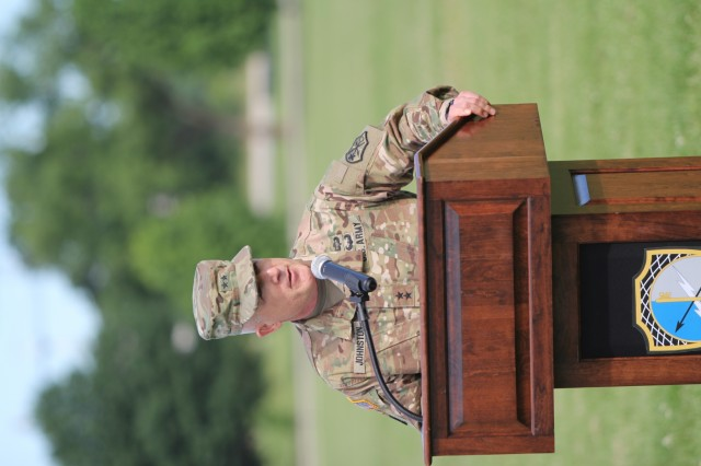 FORT GEORGE G. MEADE, Md. - Maj. Gen. Gary Johnston, commander of the U.S. Army Intelligence and Security Command (INSCOM), addresses his remarks to the Soldiers, Civilian, Family members and friends of the 780th Military Intelligence Brigade (Cyber), during a change of command ceremony on the McGlaclin Parade Field June 14.