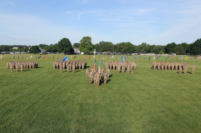 FORT GEORGE G. MEADE, Md. - Col. Brian Vile, the commander of the 780th Military Intelligence Brigade (Cyber), stands in front of his brigade formation on the McGlaclin Parade Field June 14.