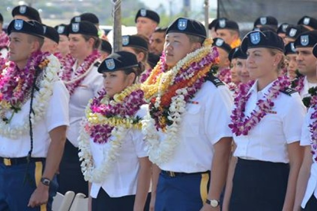 The 2018 graduating class of health care professionals stand during the annual Graduate Professional Health Education Commencement, at Tripler Army Medical Center, Honolulu, Hawaii, June 15. As the Pacific region's premier teaching hospital, Tripler is a major teaching facility that sponsors 12 accredited physician training programs with 243 approved resident positions, producing 15 percent of the Army's licensed physicians annually. (U.S. Army photo by Leanne Thomas)