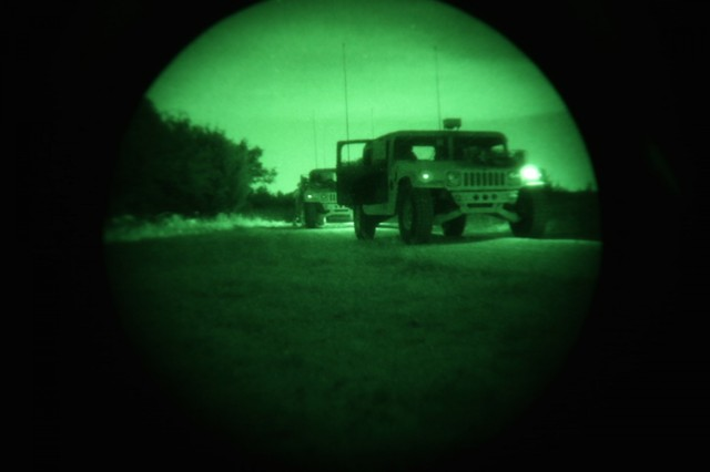 Soldiers with the 504th Military Intelligence Brigade Headquarters and Headquarters Company conduct night drivers training, June 5, 2018, Fort Hood, Texas. The training is a part of the driving qualification for military vehicles.
