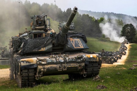 A U.S. Army armored element from 2nd Armored Brigade Combat Team, 1st Infantry Division, Fort Riley, Kansas, performs a strategic convoy maneuver during Combined Resolve X at the Hohenfels Training Area, Germany, May 2, 2018. Exercise Combined Resolve is an U.S. Army Europe exercise series held twice a year in southeastern Germany and provided the Joint Modernization Command an opportunity to assess multiple concepts and capabilities.