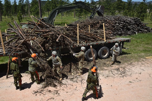 Soldiers from Task Force 38, Canadian Army, and Soldiers from Kansas Army Reserve and National Guard units, load timber onto trucks near Custer, S.D, June 12, 2018. The timber will be transported to reservations across South Dakota as part of the Golden Coyote training exercise.