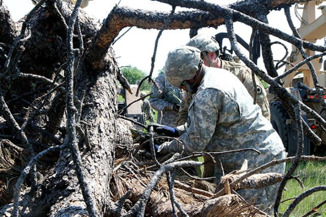 U.S. Army Sgt. Waywood Jackson, truck driver with the 137th Transportation Company, Kansas Army National Guard, unloads timber at Red Shirt, S.D., on the Pine Ridge Indian Reservation, June 15, 2018. This mission provides relevant training while also providing humanitarian aid to the Native American reservations.