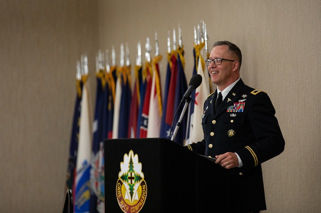 Madigan Commander Col. Michael Place welcomes the attendees of the 2018 Madigan graduation ceremony at the American Lake Conference Center on Joint Base Lewis-McChord, Wash. on June 8.