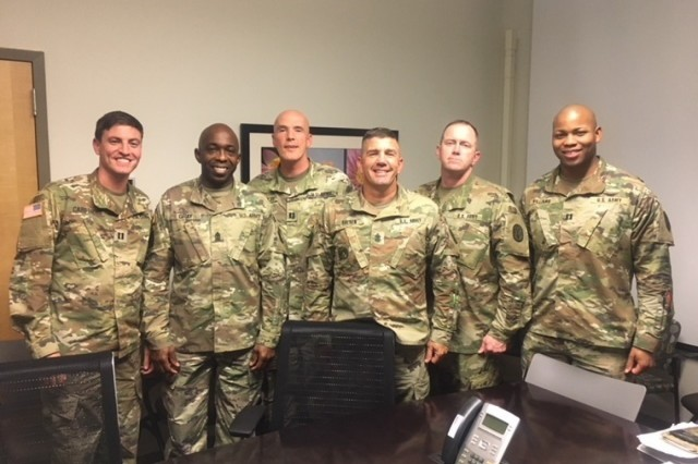 Fort Stewart Warrior Transition Battalion Commanders and First Sergeants. From left to right:  Capt. Joseph Carothers, HHC Commander; 1st Sgt. Bryant Gray, HHC First Sergeant; Capt. Brian Nettles, CCU Commander; 1st Sgt. Johnny Goenen, CCU First Sergeant; 1st Sgt. Michael Thompson, Alpha Company First Sergeant; Capt. Aaron Williams, Alpha Company Commander. (Photo by Mr. Andre L. Revell II)