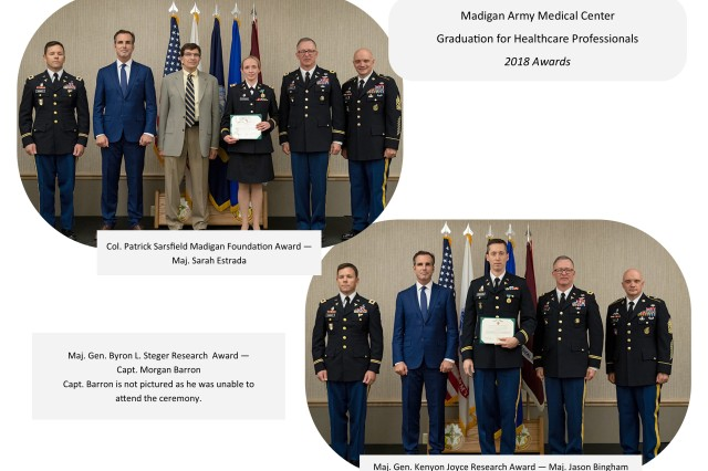 Award recipients at Madigan Army Medical Center's graduation ceremony for healthcare professionals at the American Lake Conference Center on Joint Base Lewis-McChord, Wash. on June 8.