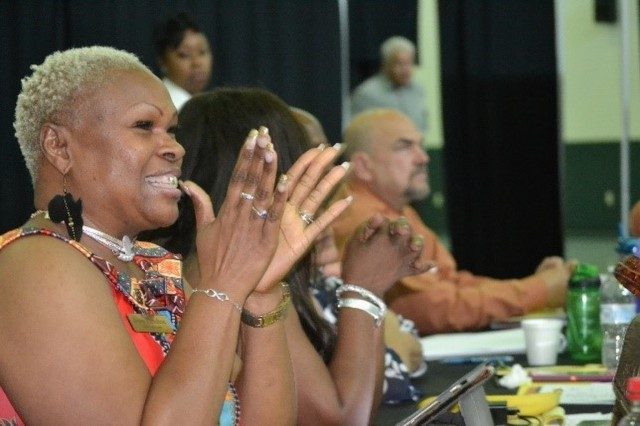 AW2 Advocate Joyce Hamilton applauds efforts to make life better for her Soldiers at the annual AW2 Training in Tampa, Florida. (Photo by MaryTherese Griffin, Warrior Care and Transition)