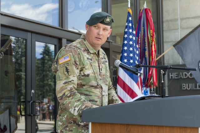 Lt. Col. Bryan Martin, garrison commander, Natick Soldier Systems Center (NSSC), speaks to the crowd gathered in front of the headquarters building for the Army's 243rd birthday celebration. Martin highlighted significant events in the history of the Army, and how lessons learned from the past can be applied to future success.