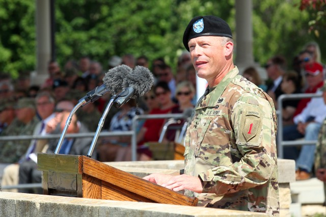 Maj. Gen. John S. Kolasheski, 1st Infantry Division and Fort Riley incoming commanding general, speaks to the audience and Soldiers during the 1st Infantry Division Change of Command Ceremony at the Cavalry Parade Field, Fort Riley, Kansas, June 8. (Chad L. Simon, 1st Inf. Div. Public Affairs)