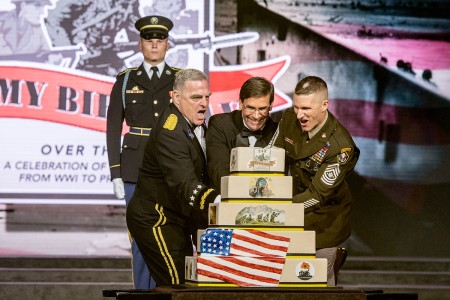 Chief of Staff of the Army Gen. Mark Milley, Secretary of the Army Dr. Mark Esper and Sgt. Maj. of the Army Daniel Dailey cut the Army Birthday cake at the U.S. Army Birthday Ball, Washington, D.C., June 16, 2018.