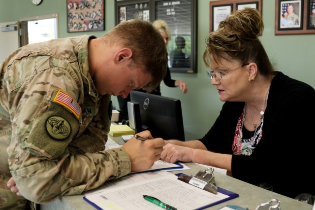 Executive officer 1st Lt. Mark Chapman, with Headquarters and Headquarters Battery, Field Artillery Squadron, 3rd Cavalry Regiment, fills out a donor application during the squadron's blood drive June 5, 2018, at the Robertson Blood Center, Fort Hood, Texas.