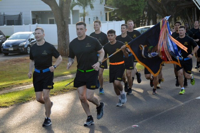 The 25th Infantry Division held a four-mile esprit de corps run in honor of the Army Birthday at Schofield Barracks, Hawaii, on June 14, 2018. The run was part of the Pacific Theater Army Week. (U.S. Army photo by Staff Sgt. Armando R. Limon, 3rd Brigade Combat Team, 25th Infantry Division)