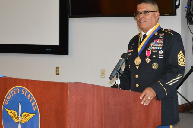 """Command Sgt. Maj. Estevan Sotorosado retires from active duty after 32 years of service at a ceremony on Fort Rucker June 15. CSM """"Soto"""" served as the Aviation Center's training sergeant major."""