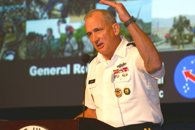 Gen. Robert Brown, U.S. Army Pacific commanding general, speaks during the Land Forces Pacific Symposium in Honolulu on May 23, 2018. In a separate interview, Brown said that the Multi-Domain Task Force will lead its first Pacific Pathways rotation next year to test future warfare capabilities.