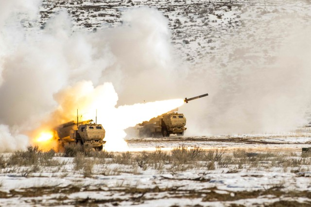 Soldiers with the 17th Field Artillery Brigade fire a High Mobility Artillery Rocket System at Yakima Training Center, Washington, Feb. 28, 2017. The brigade is expected to serve as the foundation of the Multi-Domain Task Force, which will lead its first Pacific Pathways rotation next year to test future warfare capabilities.