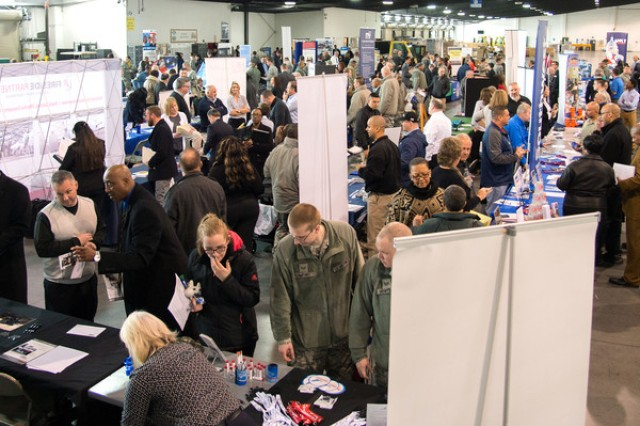 Service members and civilians at a job fair. Through a partnership between DOD and LinkedIn, military spouses will soon have access to a free LinkedIn Premium membership, valid for one year, every time they have a permanent-change-of-station move, including access to more than 12,000 online professional courses through LinkedIn Learning, as well as access to LinkedIn's military and veterans resource portal.