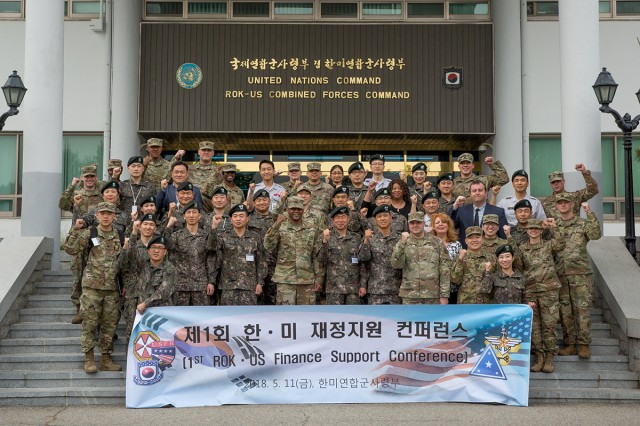 Financial professionals from United States Forces Korea, Eighth Army, the 176th Financial Management Support Unit, the ROK Army, the Ministry of National Defense, the Joint Chiefs of Staff, the Korean Army Financial Supervisory Service and the Military Command Financial Services Command attended the first official Financial Management Support Conference between the U.S Army and the ROKA at the Friendship House on Yongsan, May 11. The conference was conducted as a way to discuss U.S. and ROK Armies' financial performance organization and processes.