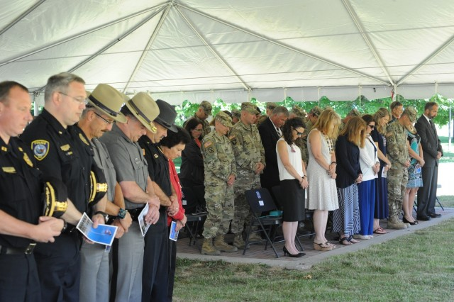 Fort Drum community members, Gold Star Families and guests gathered in Memorial Park on post June 19 to attend the annual Mountain Remembrance Ceremony and honor 10th Mountain Division (LI) Soldiers who died in service around the world. (U.S. Army Photo by Mike Strasser, Fort Drum Garrison Public Affairs)