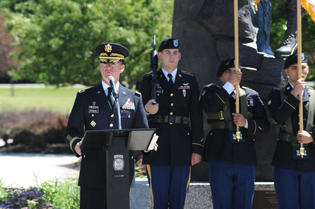 Brig. Gen. Patrick J. Donahoe, 10th Mountain Division (LI) deputy commanding general, addresses the audience at Memorial Park during the annual Mountain Memorial Park on June 19 at Fort Drum, New York. (U.S. Army Photo by Mike Strasser, Fort Drum Garrison Public Affairs)