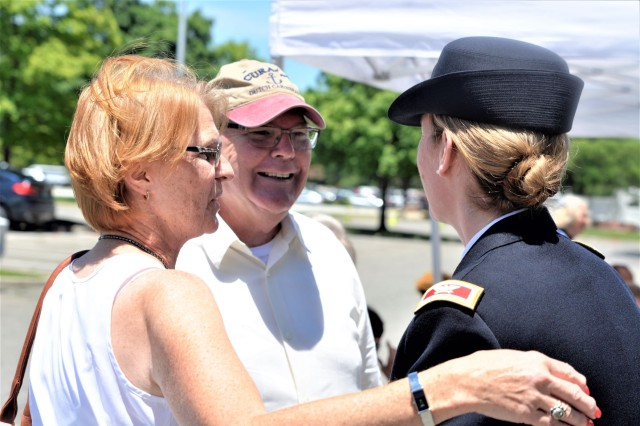 Joint Base Myer-Henderson Hall Commander Col. Kimberly Peeples (right) greets her aunt and uncle, Bettie and Stephen Walter, prior to the Bakers Creek Memorial commemoration Thursday near Joint Base Myer-Henderson Hall's Selfridge Gate. The trio are related to Bakers Creek air disaster victim U.S. Army Air Corps 2nd Lt. Jack Ogren.
