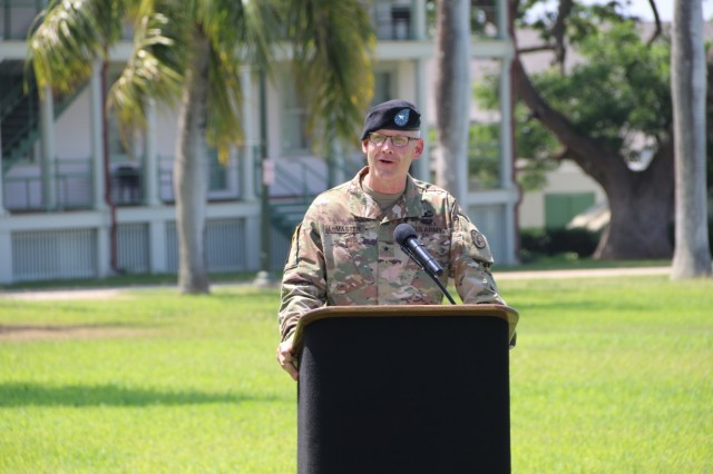 FORT SHAFTER, Hawaii (June 20, 2018) -- Regional Health Command-Pacific (RHC-P) Commanding General, Brig. Gen. Dennis LeMaster addresses the RHC-P team for the first time during the change of command ceremony.