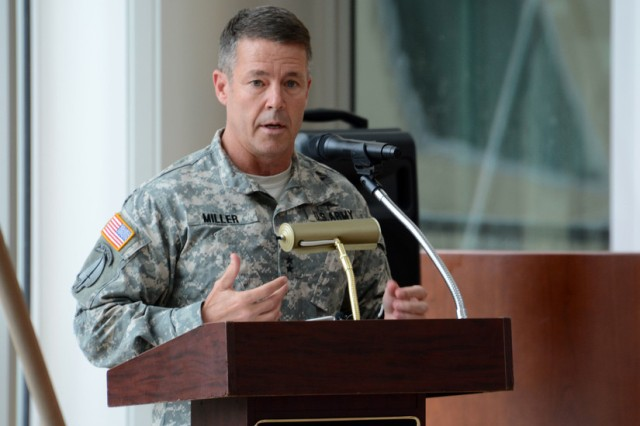 Army Maj. Gen. Austin S. Miller speaks at a ceremony at Fort Benning, Ga., in 2015. Miller, now a lieutenant general, testified before the Senate Armed Services Committee on his nomination as the next commander of the Resolute Support Mission and U.S. forces in Afghanistan, June 16, 2018. Army photo by Sgt. 1st Class Michael R. Noggle