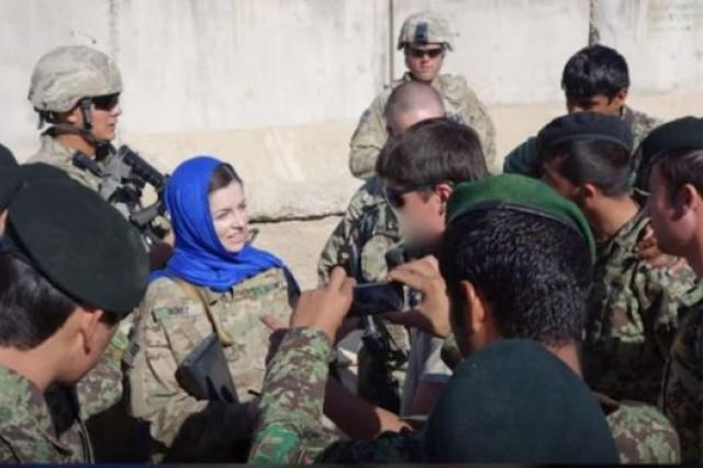 Army Capt. Emily Nunez Cavness on deployment in Afghanistan.