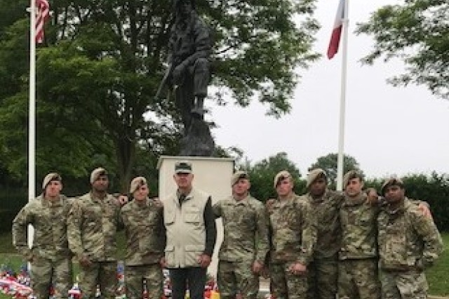 Soldiers pose in a photo during the 74th anniversary commemoration of D-Day June 6, 2018. (Courtesy photo)