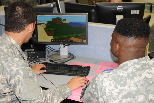 Junior ROTC cadets use computer simulations to help them understand how to fire a rifle and to respond to various scenarios.