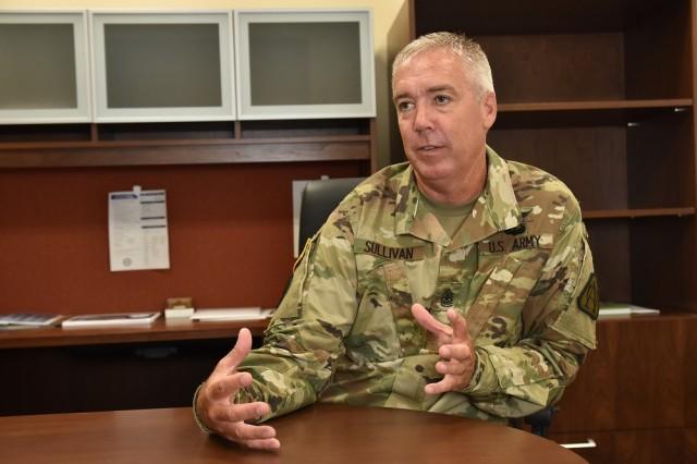 Sgt. Maj. Roy Sullivan explains his responsibilities as PEO Aviation's first-ever sergeant major.