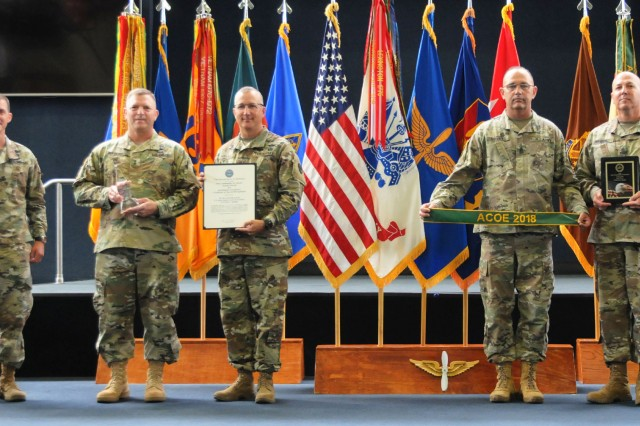Col. Brian E. Walsh, Fort Rucker garrison commander; Maj. Gen. William K. Gayler, USAACE and Fort Rucker commanding general; and Command Sgt. Maj. Brian N. Hauke, command sergeant major of the Aviation Branch, display the Commander in Chief's Award for Installation Excellence, while Command Sgt. Maj. Christopher D. Spivey, then-garrison command sergeant major, and Command Sgt. Maj. Thomas Geddings, IMCOM Training command sergeant major, display the ACOE Gold award during a ceremony at the U.S. Army Aviation Museum June 14.