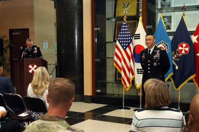 Lt. Gen. Michael A. Bills, Eighth Army commanding general, gives introductory remarks during a promotion ceremony for Maj. Gen. Viet X. Luong, Eighth Army deputy commanding general operations at Eighth Army Headquarters, Camp Humphreys, South Korea, June 21st, 2018. Maj. Gen. Luong's family, friends, fellow service members and members of the community attended the ceremony to celebrate his promotion.