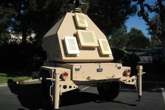 A towed radar similar to what the future Projectile Tracking System radar might look like. The long-range cannon team is reusing this system developed for a now-discontinued artillery project. The tracking system follows projectiles in flight to predict where the rounds will hit, allowing Soldiers to make corrections for subsequent shots.