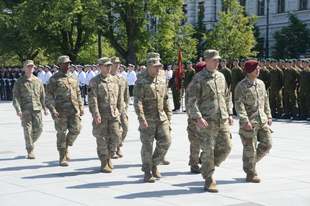 1st Battalion, 111th Infantry Regiment and 2nd Battalion, 104th Cavalry Regiment, 56th Stryker Brigade Combat Team, 28th Infantry Division, Pennsylvania National Guard Soldiers march during the State Partnership Program 25-year anniversary celebration in Vilnius, Lithuania June 10, 2018.