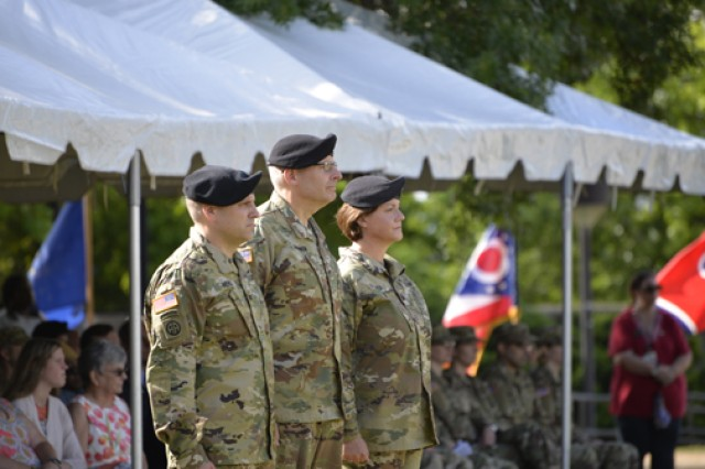 Col. Christian Meko, Brig. Gen. Jeffery Johnson and Col. Kimberlie Biever look out the Soldiers of GLWACH during a change of command ceremony June 22.