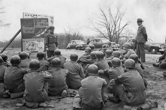 Secretary of War Robert Patterson observes selected Army recruits from the Universal Military Training Experimental Unit receive instruction at Fort Knox in 1947.