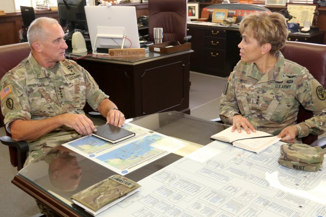 FORT SHAFTER, Hawaii (June 19, 2018) -- The Army Surgeon General and U.S. Army Medical Command (MEDCOM) Commanding General, Lt. Gen. Nadja West (right) met with U.S. Army Pacific (USARPAC) Commanding General, Gen. Robert Brown (left), during an office call to discuss medical readiness support to the warfighter. During her visit to Regional Health Command-Pacific, West also spoke with other Pacific military leaders and beneficiaries to discuss the region's readiness mission and status in maintaining a medical force that's ready to deploy in support of the warfighter and ensuring the delivery of safe and accessible care as a high-reliability organization in pursuit of improved patient safety, outcomes and effectiveness. (Photo credit: Sgt. First Class Corey Ray, USARPAC)