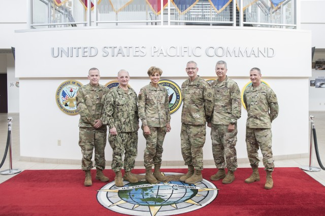 CAMP SMITH, Hawaii (June 19, 2018) -- The Army Surgeon General (TSG) and U.S. Army Medical Command (MEDCOM) Commanding General, Lt. Gen. Nadja West (center-left), alongside Regional Health Command-Pacific (RHC-P) Commanding General, Brig. Gen. Dennis LeMaster (center-right), conducted an office call with U.S. Indo-Pacific Command (INDOPACOM), Rear Adm. Louis Tripoli (second to left), to discuss medical readiness support to the warfighter. Army Medicine and RHC-P is committed to supporting the Army's number one priority of readiness. Also pictured is Executive Officer to The Army Surgeon General, Col. Michael Smith (left), U.S. Army Pacific Deputy Surgeon, Col. Douglas Lougee (right), and INDOPACOM J07, Col. John Teyhen (Courtesy photo: INDOPACOM)