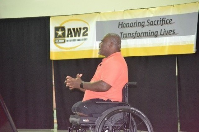 "Retired U.S. Army Col. Gregory Gadson, motivates the AW2 Annual training in Tampa Florida. ""Advocates DON'T let soldiers quit!"" (Photo by MaryTherese Griffin, Warrior Care and Transition)"
