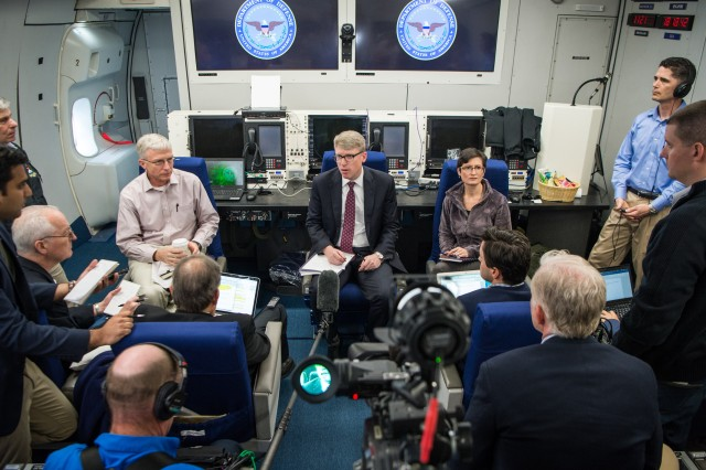 David F. Helvey, the principal deputy assistant secretary of defense for Asian and Pacific Security Affairs, briefs reporters during a trip to the Indo-Pacific region, June 1, 2017.