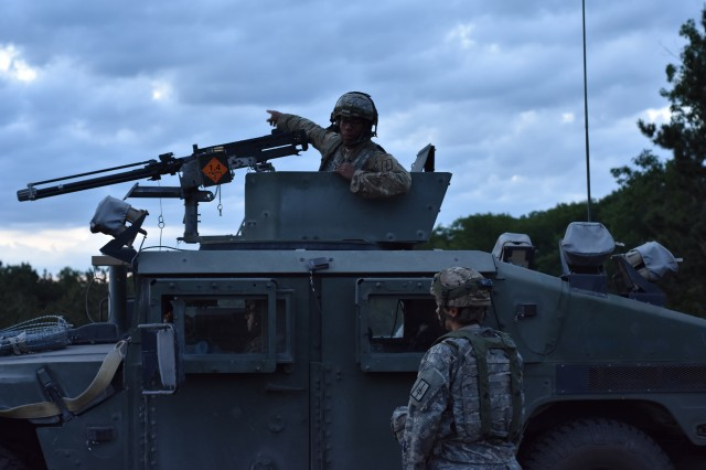 New York Army National Guard Soldiers assigned to 2nd platoon of the 206th Military Police Company, conduct base security training on Fort Drum, N.Y., June 12, 2018. Soldiers from the 206th woke up early to conduct base security training, a 48 hour exercise, part of their annual training.
