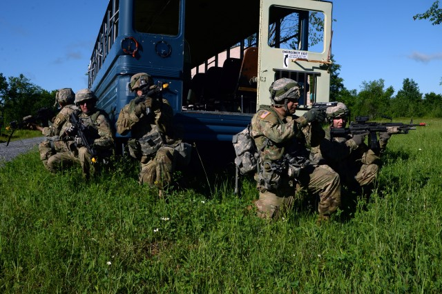 New York Army National Guard Soldiers assigned to 1st Platoon, 206th Military Police Company conduct Cordon and Search training on Fort Drum, June 15, 2018. The Soldiers were conducting their annual training with the 10th Mountain Division.