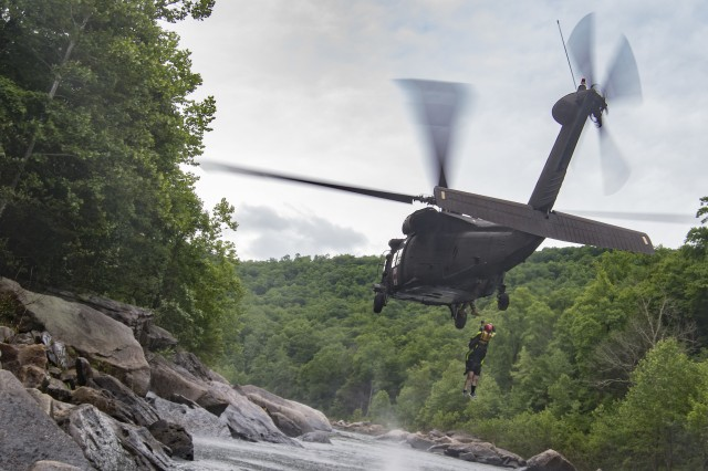 West Virginia Army National Guard swift water, aviation troops dive into training